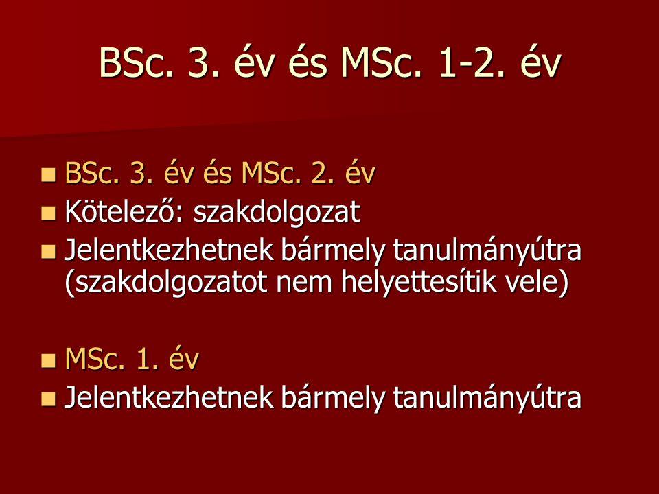 BSc. 3. év és MSc. 1-2. év BSc. 3. év és MSc.
