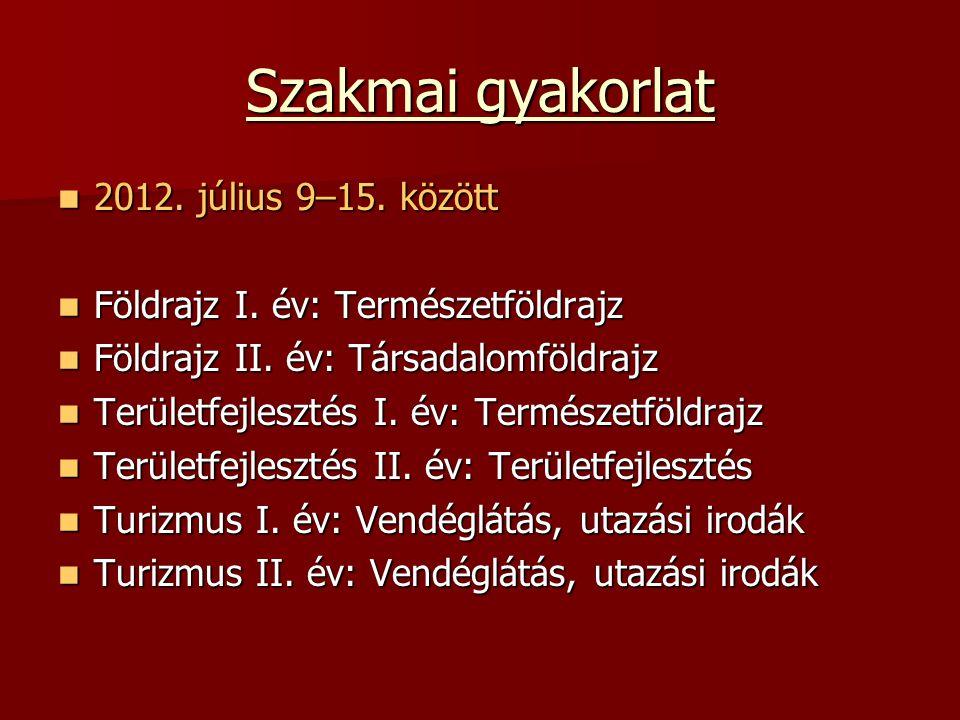 Szakmai gyakorlat 2012. július 9–15. között 2012.