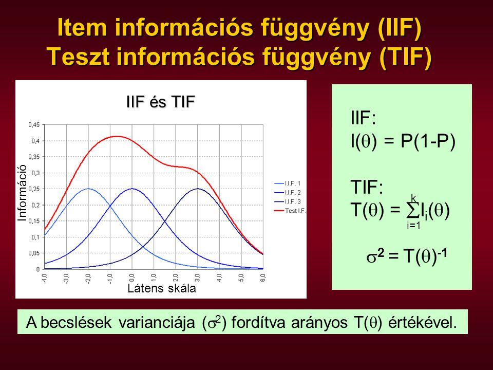 IIF: I(  ) = P(1-P) TIF: T(  ) =  I i (  )  2 = T(  ) -1 Item információs függvény (IIF) Teszt információs függvény (TIF) A becslések varianciája (  2 ) fordítva arányos T(  ) értékével.