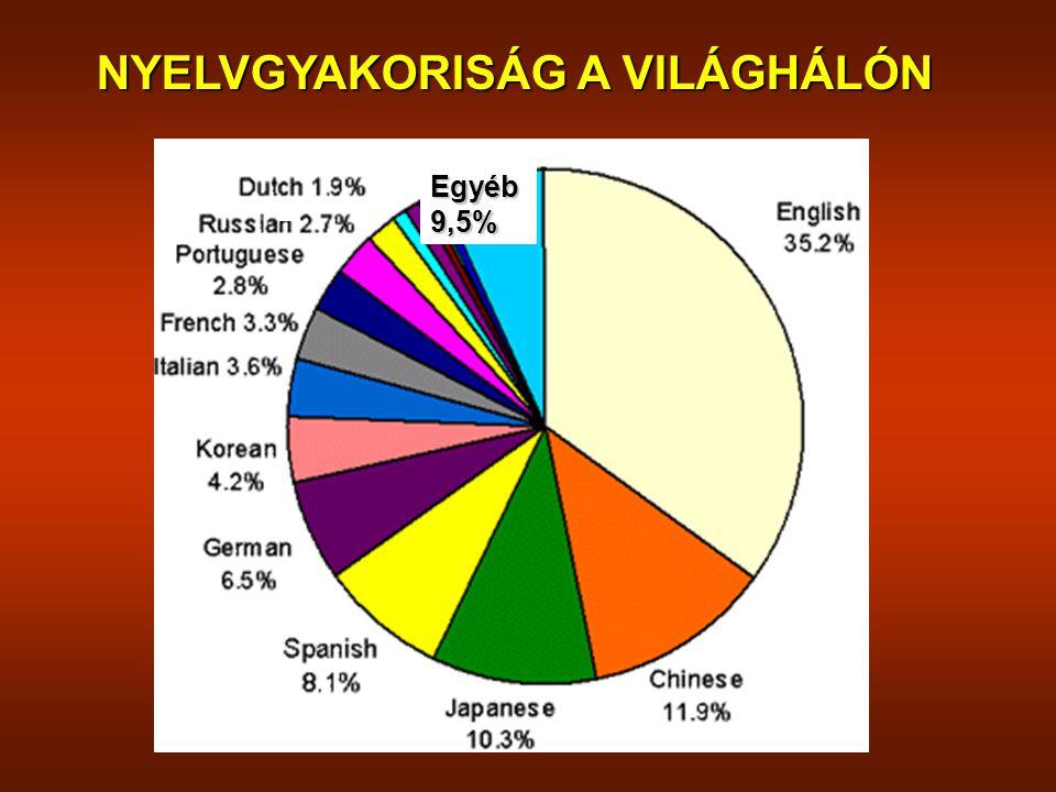 NYELVGYAKORISÁG A VILÁGHÁLÓN Egyéb9,5%