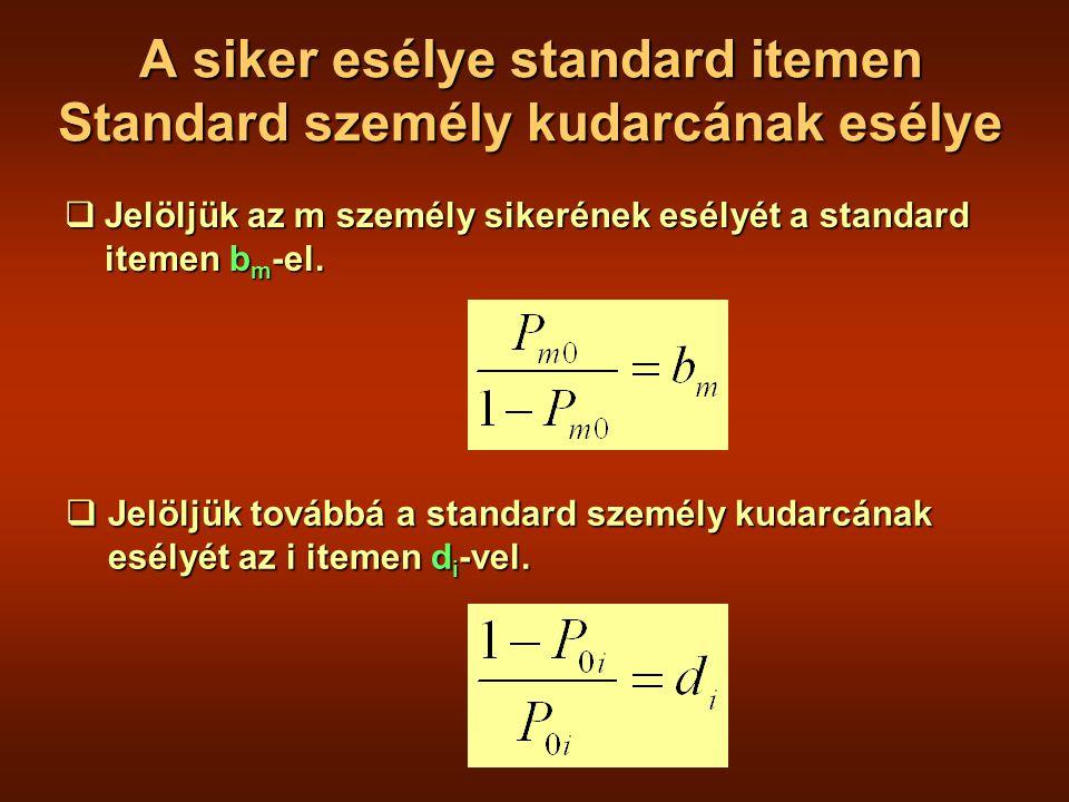 A siker esélye standard itemen Standard személy kudarcának esélye  Jelöljük az m személy sikerének esélyét a standard itemen b m -el.