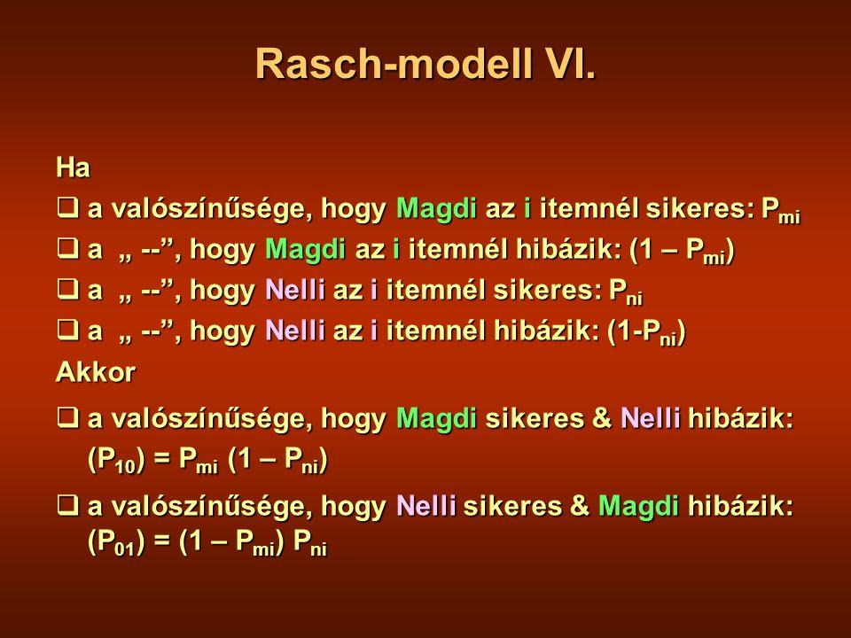 """Ha  a valószínűsége, hogy Magdi az i itemnél sikeres: P mi  a """" -- , hogy Magdi az i itemnél hibázik: (1 – P mi )  a """" -- , hogy Nelli az i itemnél sikeres: P ni  a """" -- , hogy Nelli az i itemnél hibázik: (1-P ni ) Akkor  a valószínűsége, hogy Magdi sikeres & Nelli hibázik: (P 10 ) = P mi (1 – P ni )  a valószínűsége, hogy Nelli sikeres & Magdi hibázik: (P 01 ) = (1 – P mi ) P ni Rasch-modell VI."""