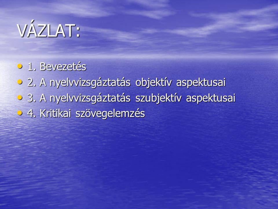 VÁZLAT: 1. Bevezetés 1. Bevezetés 2. A nyelvvizsgáztatás objektív aspektusai 2.
