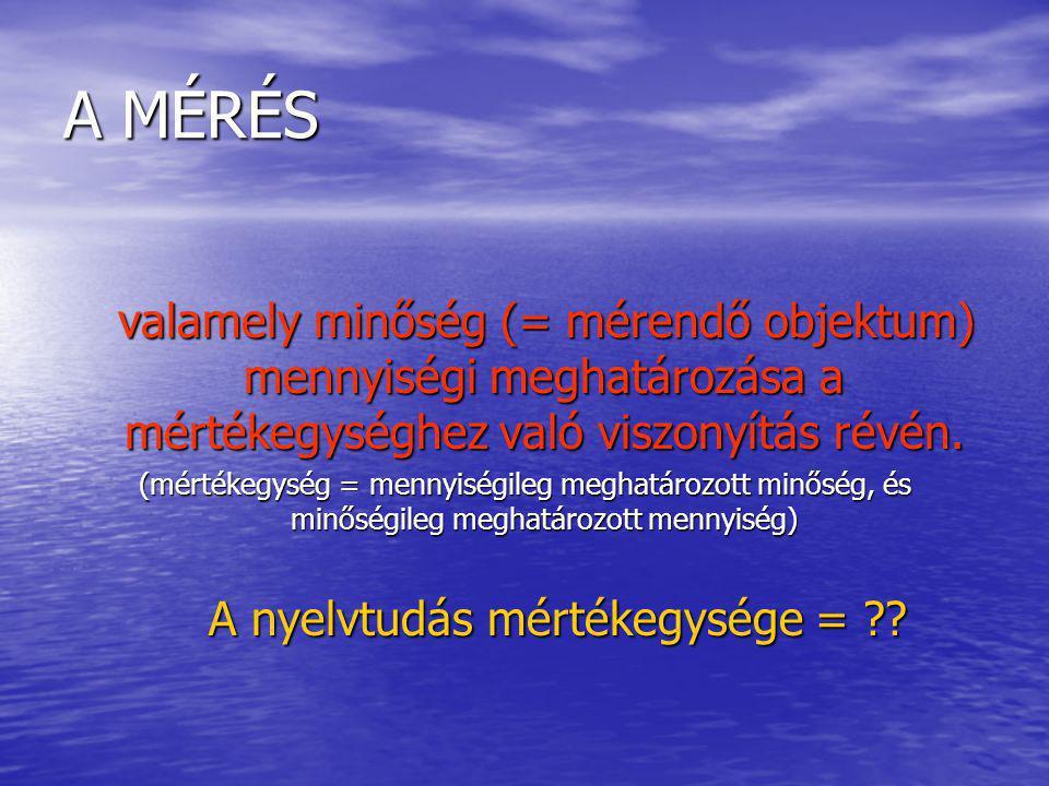 A MÉRÉS valamely minőség (= mérendő objektum) mennyiségi meghatározása a mértékegységhez való viszonyítás révén.