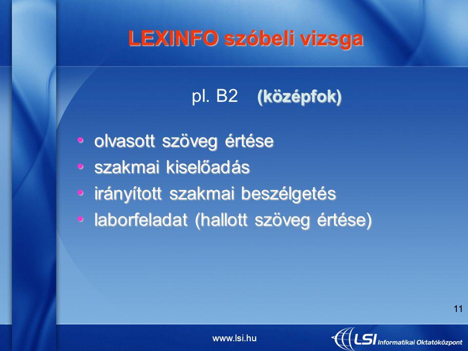 www.lsi.hu 11 LEXINFO szóbeli vizsga LEXINFO szóbeli vizsga (középfok) pl.