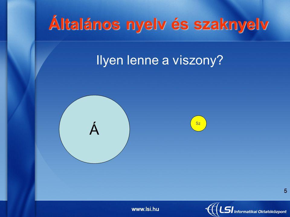 6 Vagy ilyen? Általános nyelv és szaknyelv Általános nyelv és szaknyelv Á Sz 6 www.lsi.hu