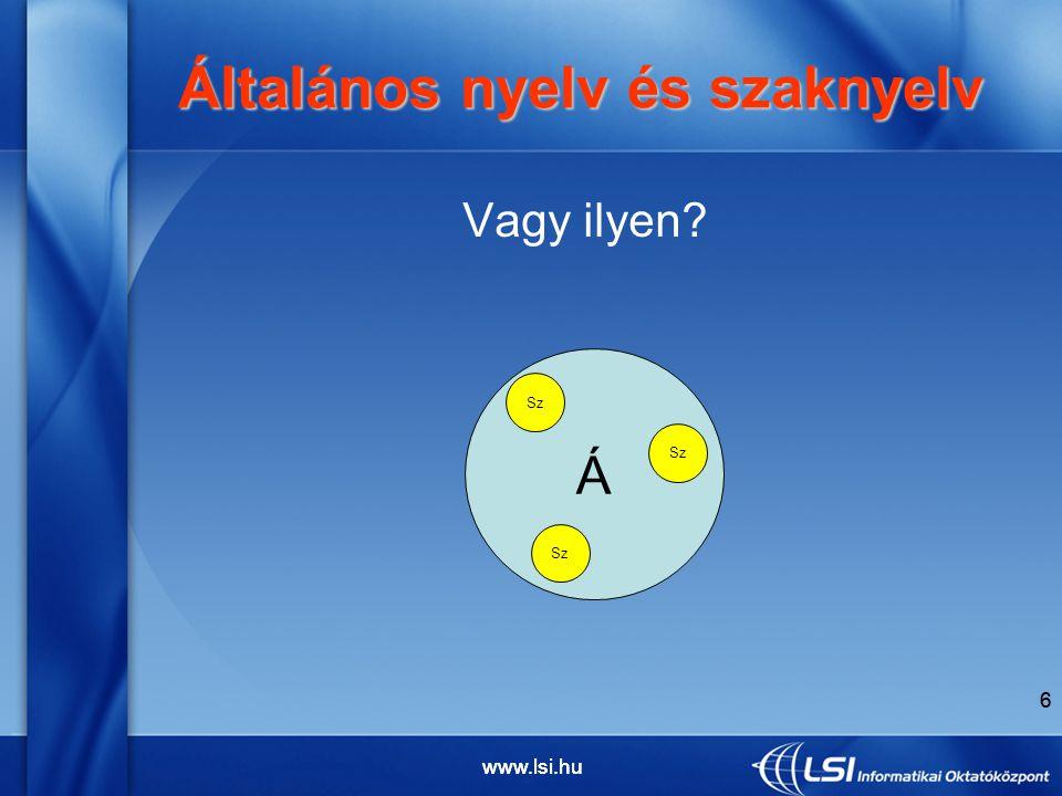 6 Vagy ilyen Általános nyelv és szaknyelv Általános nyelv és szaknyelv Á Sz 6 www.lsi.hu