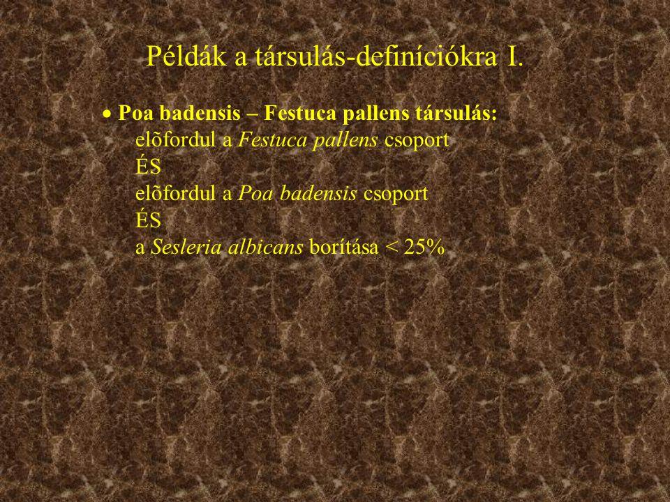  Poa badensis – Festuca pallens társulás: elõfordul a Festuca pallens csoport ÉS elõfordul a Poa badensis csoport ÉS a Sesleria albicans borítása < 25% Példák a társulás-definíciókra I.
