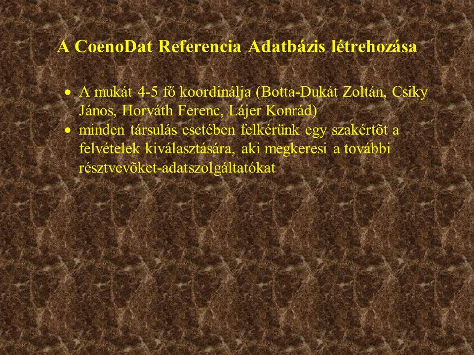 A CoenoDat Referencia Adatbázis létrehozása  A mukát 4-5 fő koordinálja (Botta-Dukát Zoltán, Csiky János, Horváth Ferenc, Lájer Konrád)  minden társulás esetében felkérünk egy szakértõt a felvételek kiválasztására, aki megkeresi a további résztvevõket-adatszolgáltatókat