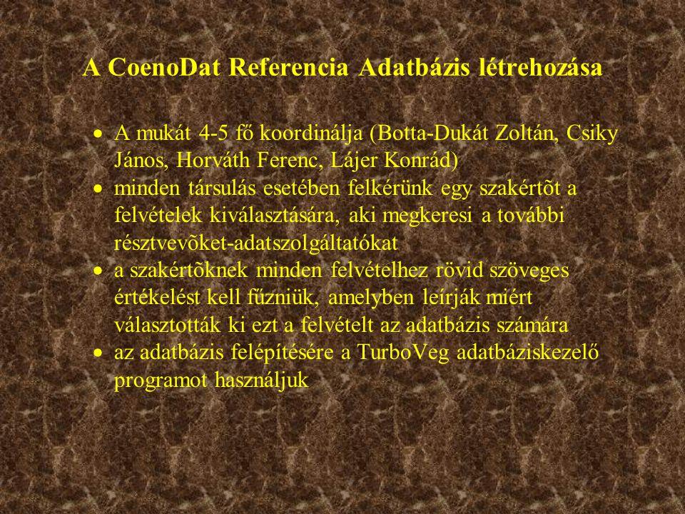 A CoenoDat Referencia Adatbázis létrehozása  A mukát 4-5 fő koordinálja (Botta-Dukát Zoltán, Csiky János, Horváth Ferenc, Lájer Konrád)  minden társulás esetében felkérünk egy szakértõt a felvételek kiválasztására, aki megkeresi a további résztvevõket-adatszolgáltatókat  a szakértõknek minden felvételhez rövid szöveges értékelést kell fűzniük, amelyben leírják miért választották ki ezt a felvételt az adatbázis számára  az adatbázis felépítésére a TurboVeg adatbáziskezelő programot használjuk
