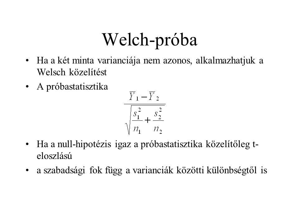 Welch-próba Ha a két minta varianciája nem azonos, alkalmazhatjuk a Welsch közelítést A próbastatisztika Ha a null-hipotézis igaz a próbastatisztika k