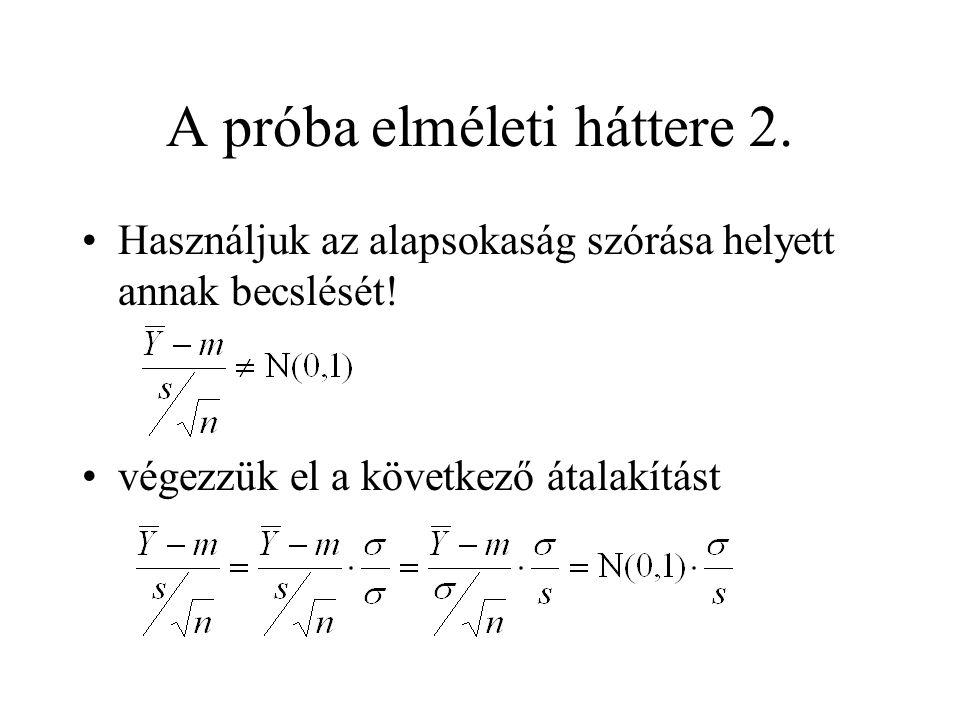 A próba elméleti háttere 2. Használjuk az alapsokaság szórása helyett annak becslését! végezzük el a következő átalakítást