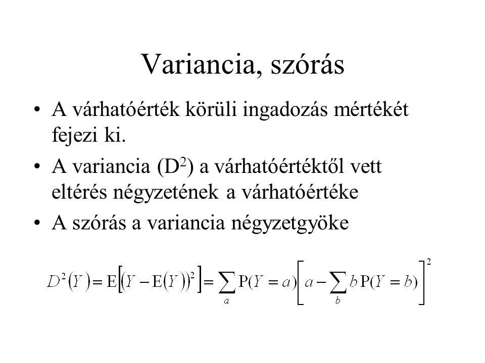 Variancia, szórás A várhatóérték körüli ingadozás mértékét fejezi ki. A variancia (D 2 ) a várhatóértéktől vett eltérés négyzetének a várhatóértéke A