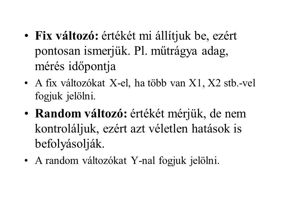 Fix változó: értékét mi állítjuk be, ezért pontosan ismerjük. Pl. műtrágya adag, mérés időpontja A fix változókat X-el, ha több van X1, X2 stb.-vel fo