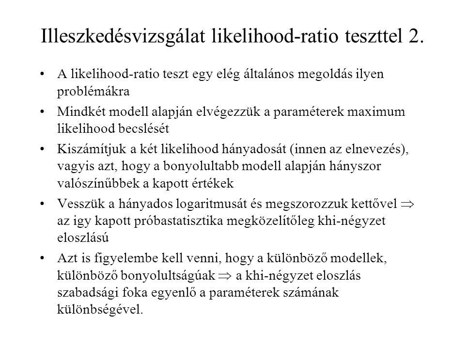 Illeszkedésvizsgálat likelihood-ratio teszttel 2. A likelihood-ratio teszt egy elég általános megoldás ilyen problémákra Mindkét modell alapján elvége