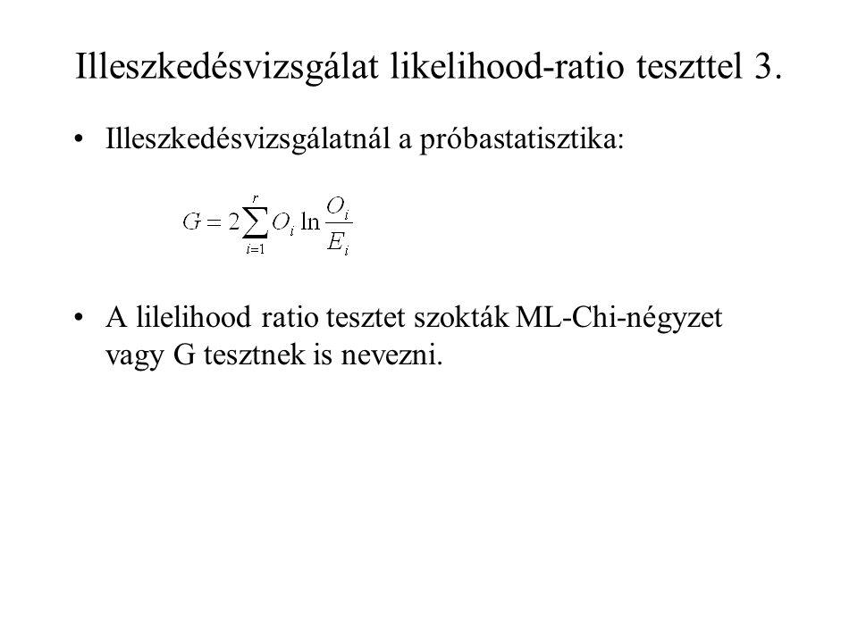 Illeszkedésvizsgálat likelihood-ratio teszttel 3. Illeszkedésvizsgálatnál a próbastatisztika: A lilelihood ratio tesztet szokták ML-Chi-négyzet vagy G