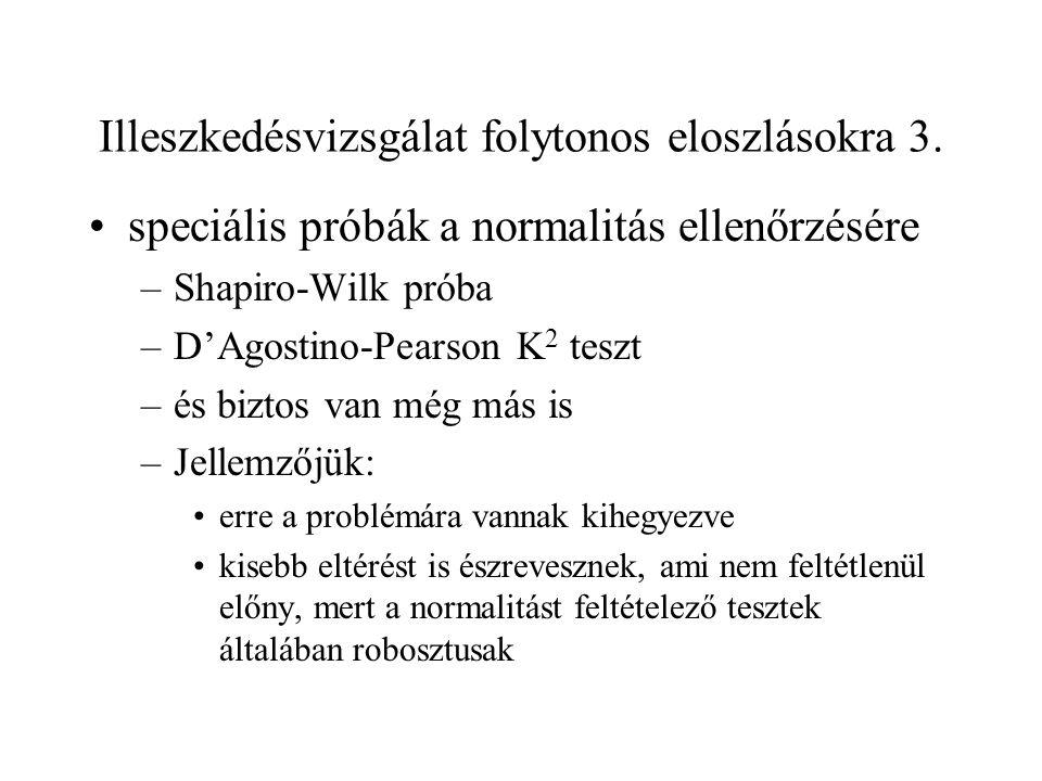 Illeszkedésvizsgálat folytonos eloszlásokra 3. speciális próbák a normalitás ellenőrzésére –Shapiro-Wilk próba –D'Agostino-Pearson K 2 teszt –és bizto