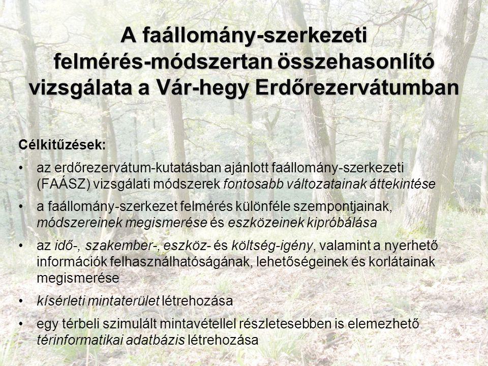 A faállomány-szerkezeti felmérés-módszertan összehasonlító vizsgálata a Vár-hegy Erdőrezervátumban Célkitűzések: az erdőrezervátum-kutatásban ajánlott faállomány-szerkezeti (FAÁSZ) vizsgálati módszerek fontosabb változatainak áttekintése a faállomány-szerkezet felmérés különféle szempontjainak, módszereinek megismerése és eszközeinek kipróbálása az idő-, szakember-, eszköz- és költség-igény, valamint a nyerhető információk felhasználhatóságának, lehetőségeinek és korlátainak megismerése kísérleti mintaterület létrehozása egy térbeli szimulált mintavétellel részletesebben is elemezhető térinformatikai adatbázis létrehozása