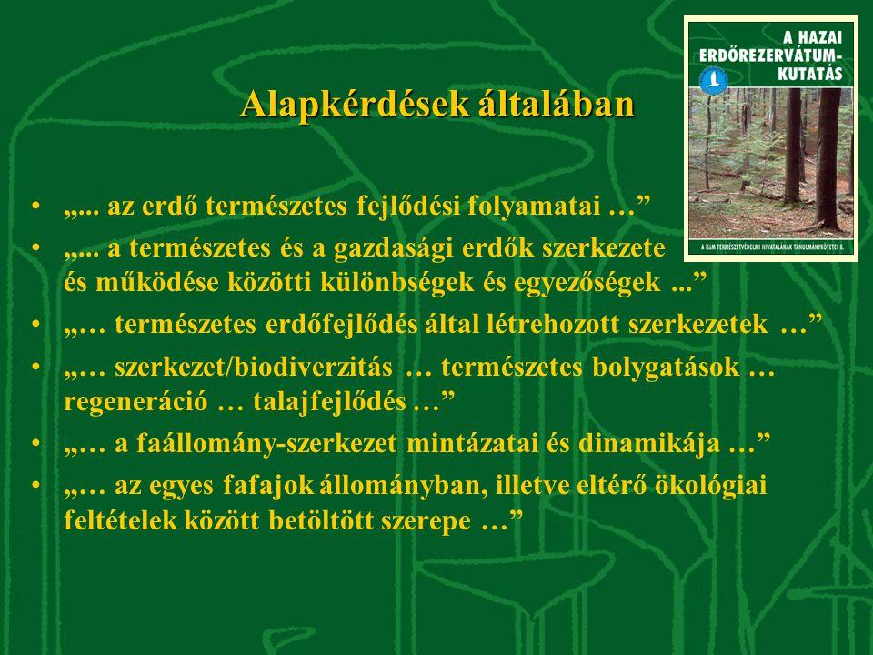 """Alapkérdések általában """"... az erdő természetes fejlődési folyamatai … """"..."""