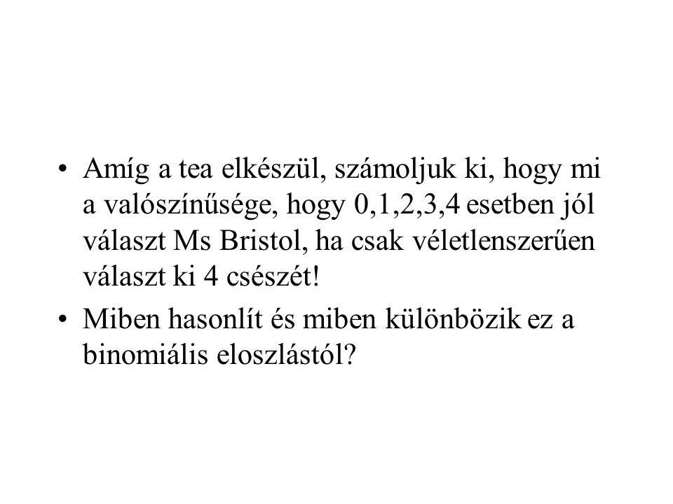Amíg a tea elkészül, számoljuk ki, hogy mi a valószínűsége, hogy 0,1,2,3,4 esetben jól választ Ms Bristol, ha csak véletlenszerűen választ ki 4 csészét.
