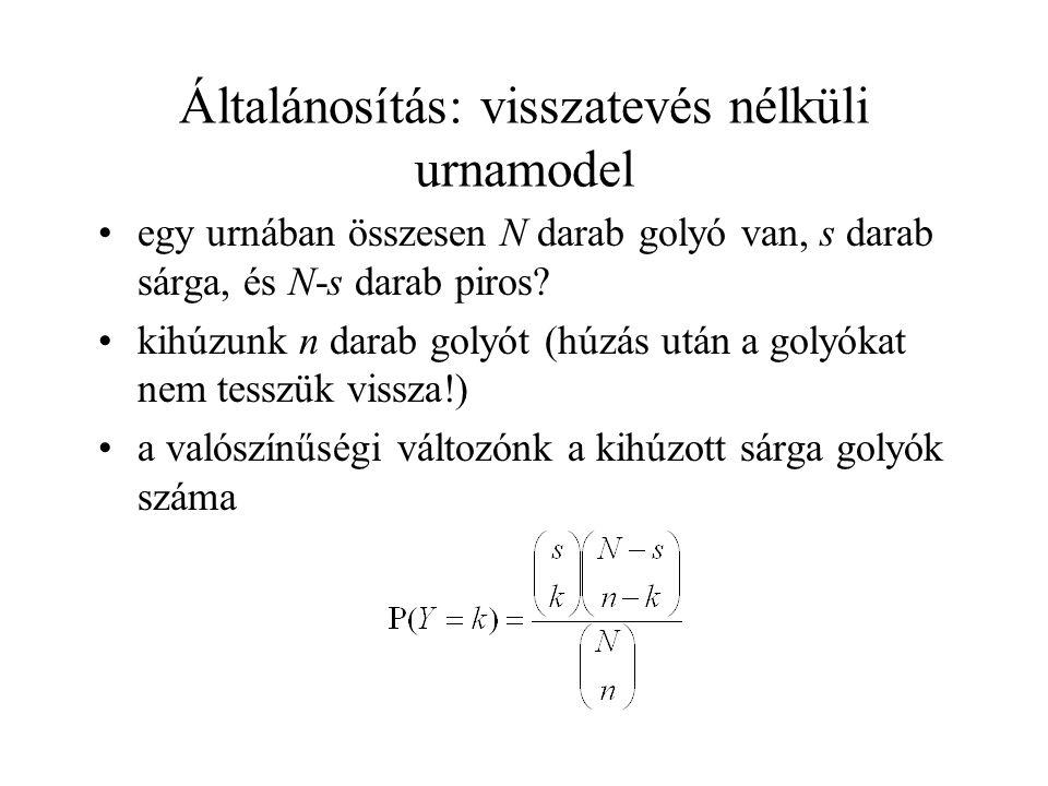 Általánosítás: visszatevés nélküli urnamodel egy urnában összesen N darab golyó van, s darab sárga, és N-s darab piros.