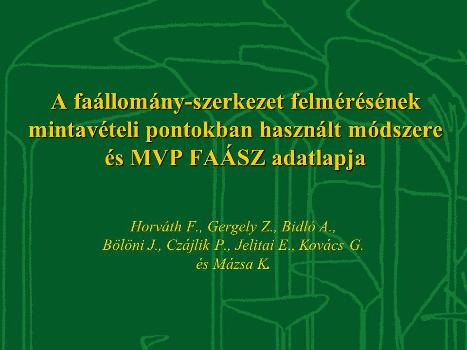 A faállomány-szerkezet felmérésének mintavételi pontokban használt módszere és MVP FAÁSZ adatlapja Horváth F., Gergely Z., Bidló A., Bölöni J., Czájli