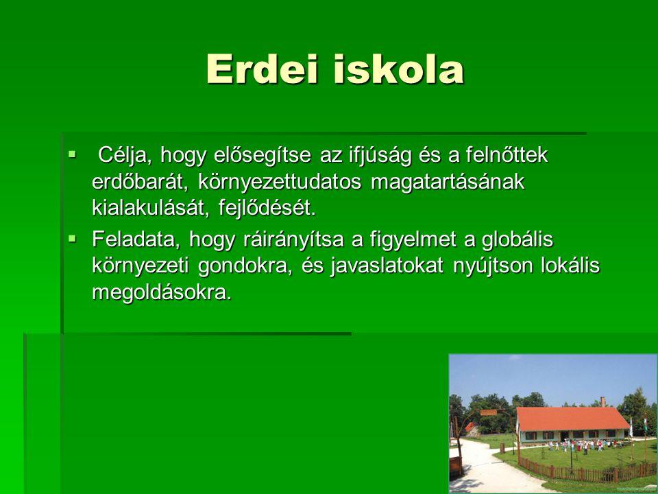 Erdei iskola  Célja, hogy elősegítse az ifjúság és a felnőttek erdőbarát, környezettudatos magatartásának kialakulását, fejlődését.