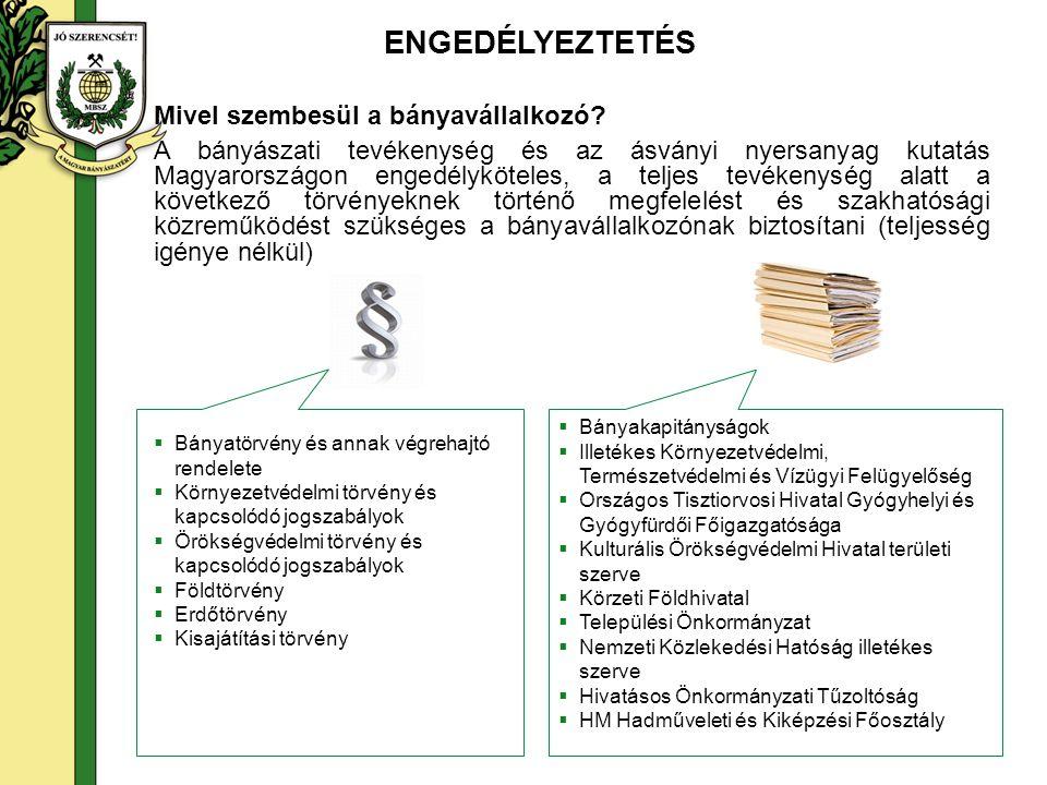 A ENGEDÉLYEZTETÉS Mivel szembesül a bányavállalkozó? A bányászati tevékenység és az ásványi nyersanyag kutatás Magyarországon engedélyköteles, a telje