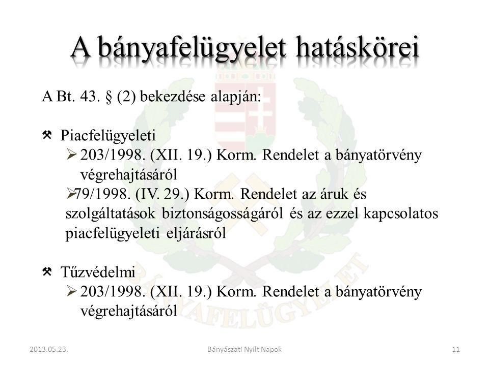 2013.05.23.11Bányászati Nyílt Napok A Bt.43. § (2) bekezdése alapján: Piacfelügyeleti  203/1998.