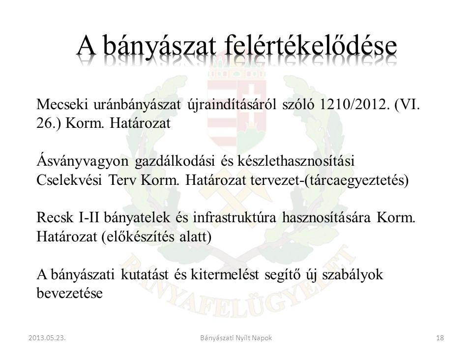 2013.05.23.18Bányászati Nyílt Napok Mecseki uránbányászat újraindításáról szóló 1210/2012.