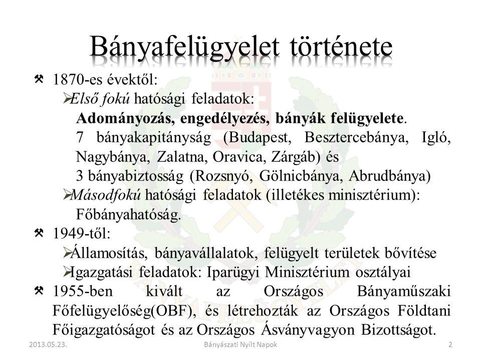 2013.05.23.2Bányászati Nyílt Napok 1870-es évektől:  Első fokú hatósági feladatok: Adományozás, engedélyezés, bányák felügyelete.