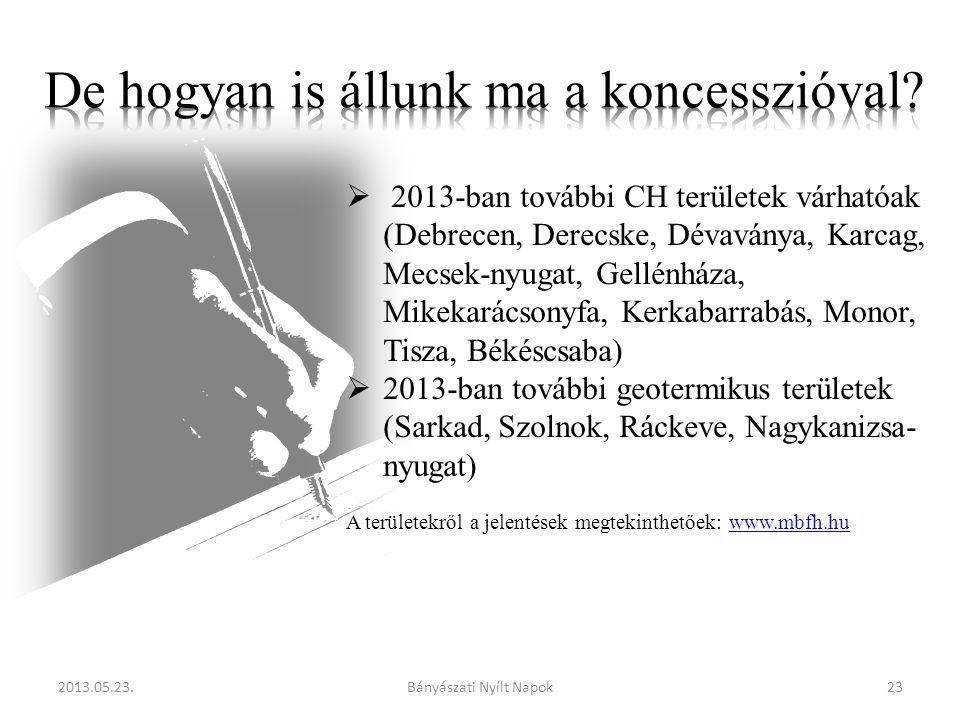  2013-ban további CH területek várhatóak (Debrecen, Derecske, Dévaványa, Karcag, Mecsek-nyugat, Gellénháza, Mikekarácsonyfa, Kerkabarrabás, Monor, Tisza, Békéscsaba)  2013-ban további geotermikus területek (Sarkad, Szolnok, Ráckeve, Nagykanizsa- nyugat) A területekről a jelentések megtekinthetőek: www.mbfh.huwww.mbfh.hu 2013.05.23.23Bányászati Nyílt Napok