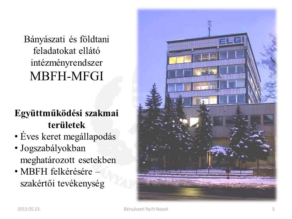 Bányászati és földtani feladatokat ellátó intézményrendszer MBFH-MFGI Együttműködési szakmai területek Éves keret megállapodás Jogszabályokban meghatározott esetekben MBFH felkérésére – szakértői tevékenység 2013.05.23.5Bányászati Nyílt Napok