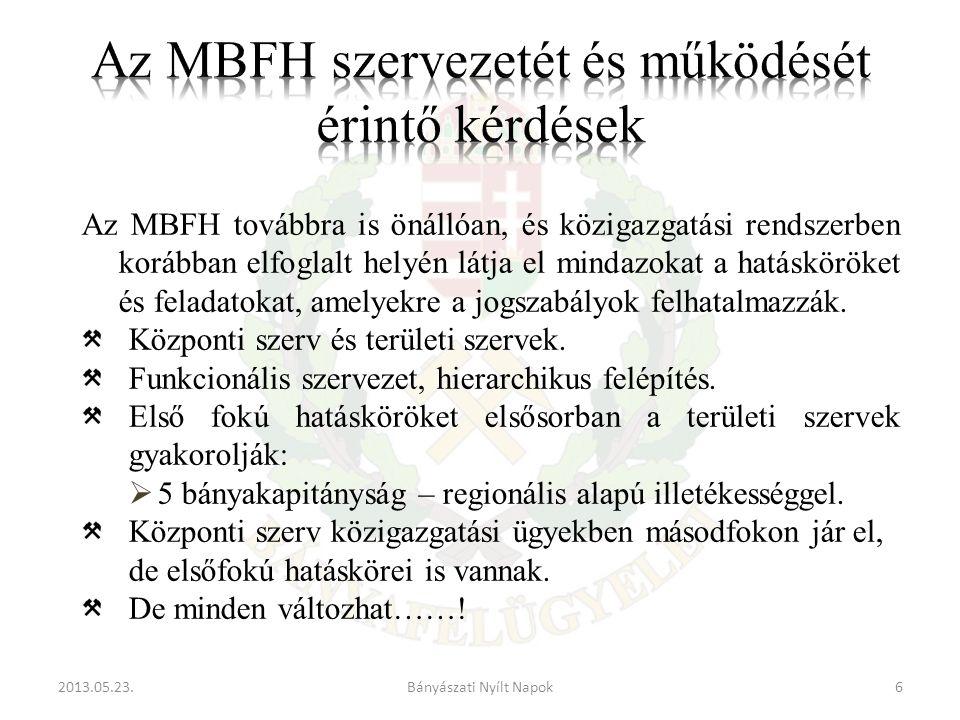 2013.05.23.6Bányászati Nyílt Napok Az MBFH továbbra is önállóan, és közigazgatási rendszerben korábban elfoglalt helyén látja el mindazokat a hatásköröket és feladatokat, amelyekre a jogszabályok felhatalmazzák.