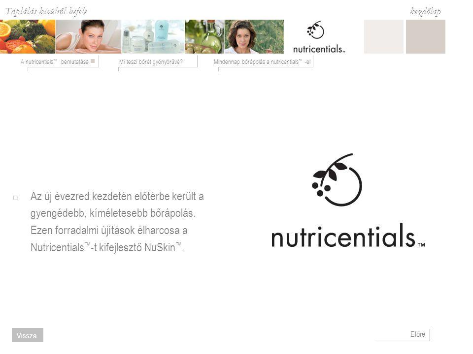 Táplálás kívülről befele Mi teszi bőrét gyönyörűvé?Mindennap bőrápolás a nutricentials ™ -elA nutricentials ™ bemutatása kezdőlap Előre Vissza Nedvesítés a Nutricentials™-el  Bőrét rugalmassá teszi.