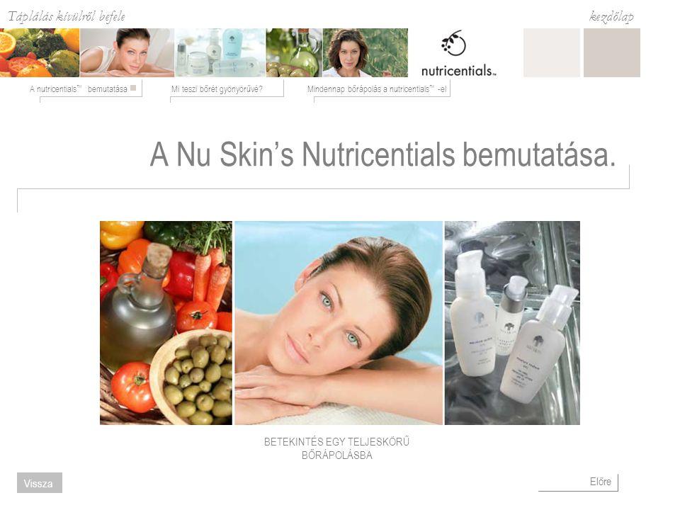 Táplálás kívülről befele Mi teszi bőrét gyönyörűvé?Mindennap bőrápolás a nutricentials ™ -elA nutricentials ™ bemutatása kezdőlap Előre Vissza A Nu Skin's Nutricentials bemutatása.