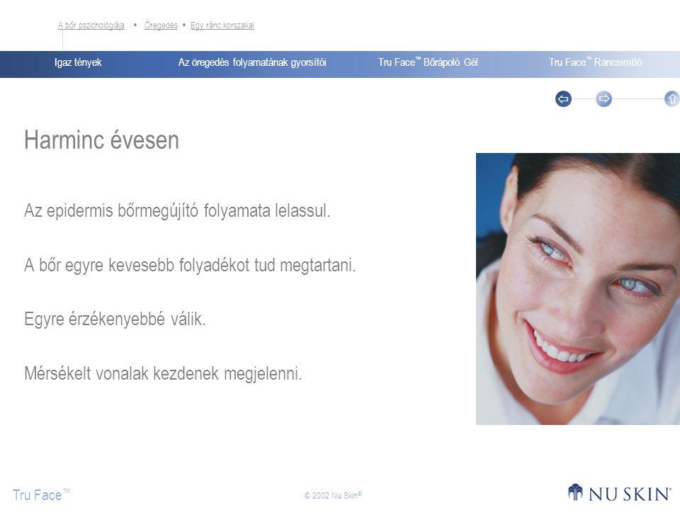 Az öregedés folyamatának gyorsítóiIgaz tényekTru Face ™ Bőrápoló GélTru Face ™ Ráncsimító Tru Face ™    © 2002 Nu Skin ® Harminc évesen Az epidermi
