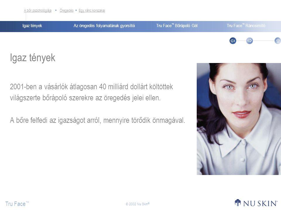 Az öregedés folyamatának gyorsítóiIgaz tényekTru Face ™ Bőrápoló GélTru Face ™ Ráncsimító Tru Face ™    © 2002 Nu Skin ® Igaz tények 2001-ben a vás