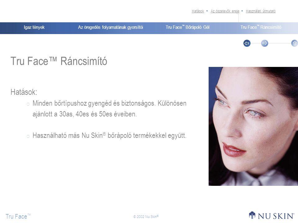 Az öregedés folyamatának gyorsítóiIgaz tényekTru Face ™ Bőrápoló GélTru Face ™ Ráncsimító Tru Face ™    © 2002 Nu Skin ® Tru Face™ Ráncsimító Hatás