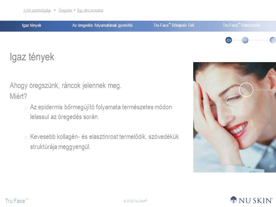 Az öregedés folyamatának gyorsítóiIgaz tényekTru Face ™ Bőrápoló GélTru Face ™ Ráncsimító Tru Face ™    © 2002 Nu Skin ® Prokollagén peptidek Hogyan működik.