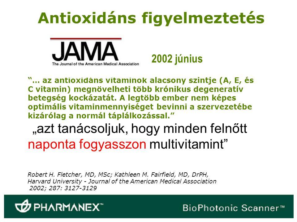 """""""… az antioxidáns vitaminok alacsony szintje (A, E, és C vitamin) megnövelheti több krónikus degeneratív betegség kockázatát. A legtöbb ember nem képe"""