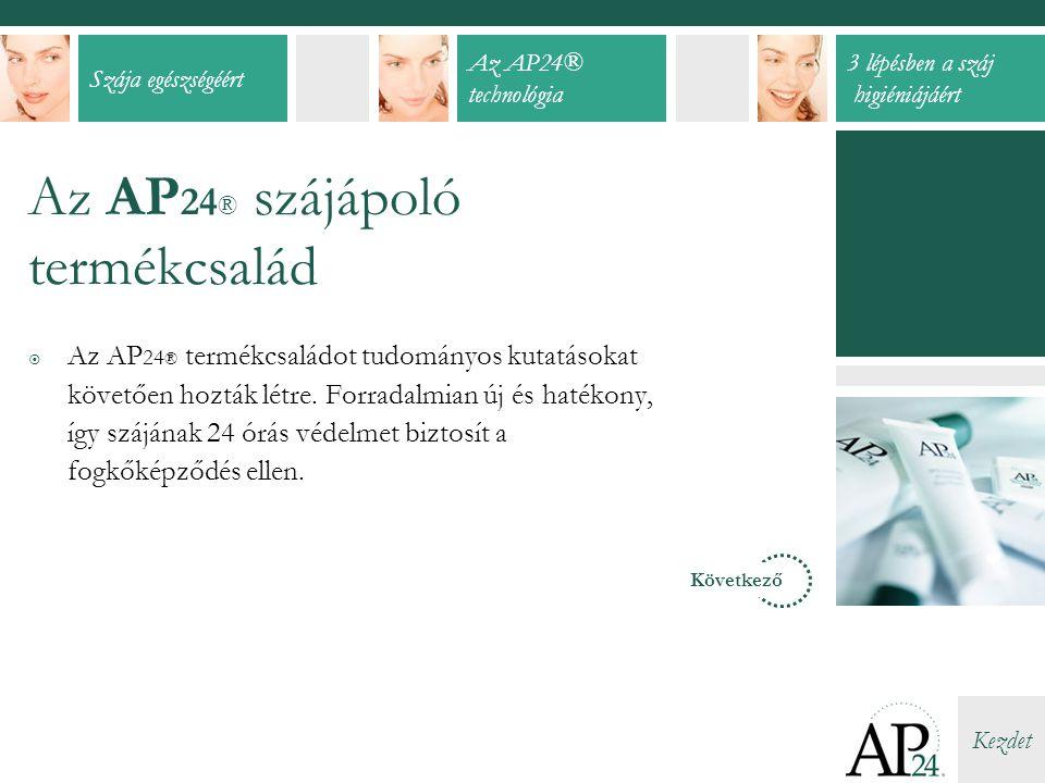 Szája egészségéért Az AP24® technológia 3 lépésben a száj higiéniájáért Kezdet Az AP 24 ® szájápoló termékcsalád  Az AP 24 ® termékcsaládot tudományos kutatásokat követően hozták létre.