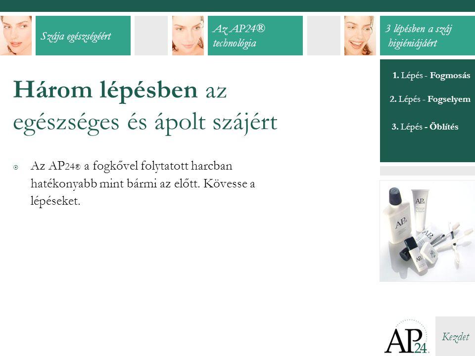 Szája egészségéért Az AP24® technológia 3 lépésben a száj higiéniájáért Kezdet 1.