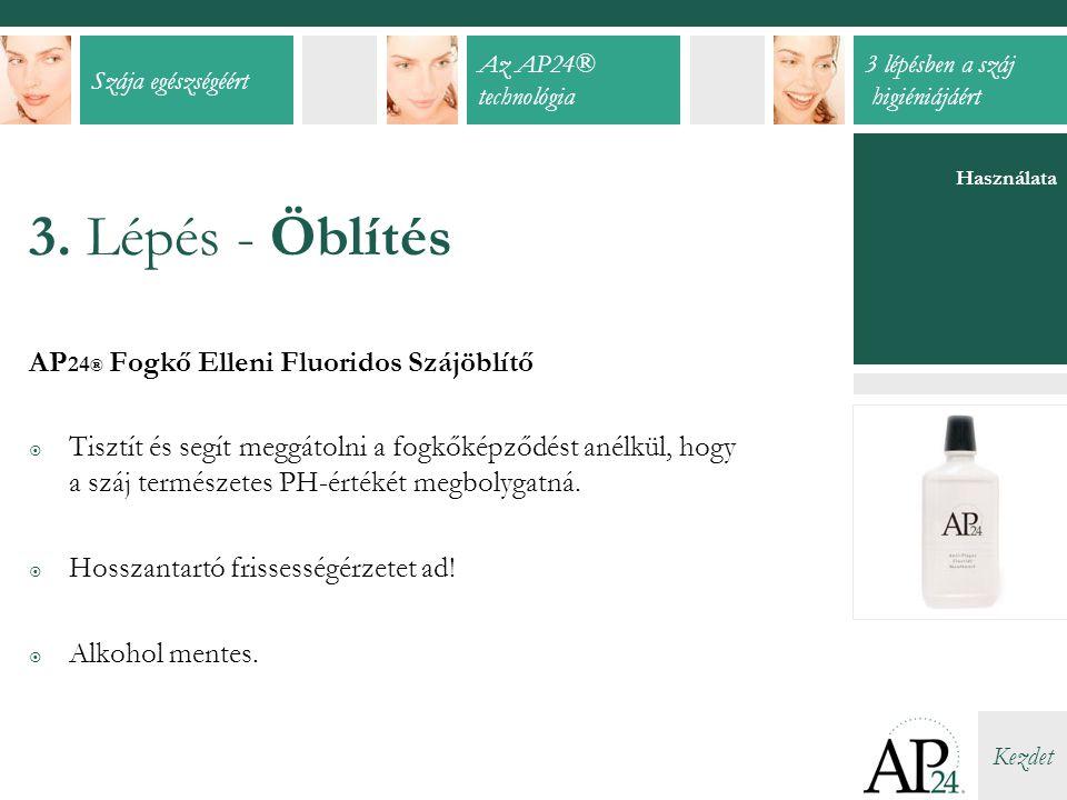 Szája egészségéért Az AP24® technológia 3 lépésben a száj higiéniájáért Kezdet Használata 3.