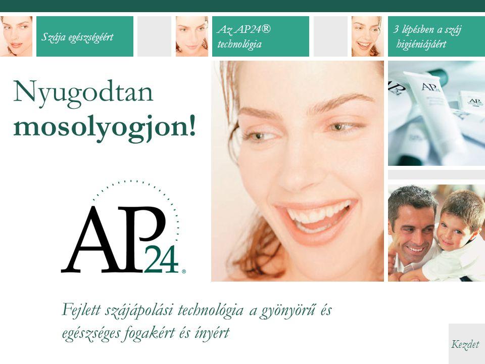 Szája egészségéért Az AP24® technológia 3 lépésben a száj higiéniájáért Kezdet Nyugodtan mosolyogjon.