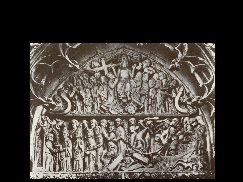 A felsőrészén Jézus mint a Világ Bírája és az égiek, Mária, Keresztelő János, angyalok, apostolok