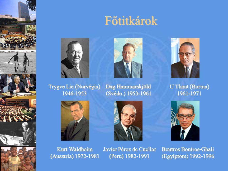 Főtitkárok Trygve Lie (Norvégia) 1946-1953 Dag Hammarskjöld (Svédo.) 1953-1961 U Thant (Burma) 1961-1971 Kurt Waldheim (Ausztria) 1972-1981 Javier Pérez de Cuellar (Peru) 1982-1991 Boutros Boutros-Ghali (Egyiptom) 1992-1996