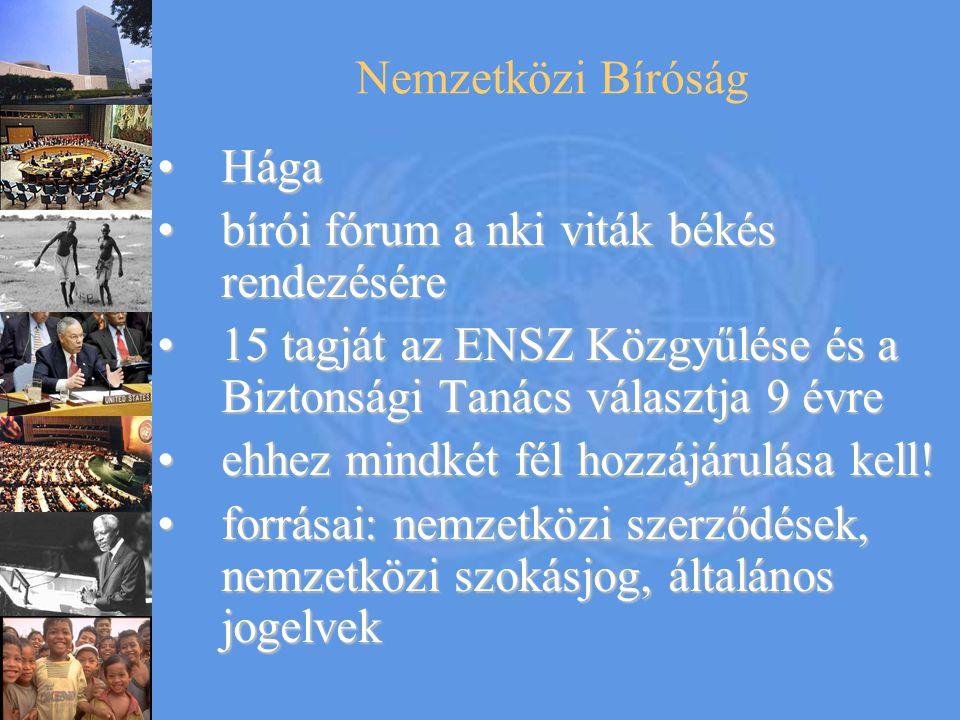 Nemzetközi Bíróság HágaHága bírói fórum a nki viták békés rendezésérebírói fórum a nki viták békés rendezésére 15 tagját az ENSZ Közgyűlése és a Bizto