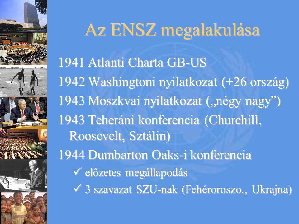 """Az ENSZ megalakulása 1941 Atlanti Charta GB-US 1942 Washingtoni nyilatkozat (+26 ország) 1943 Moszkvai nyilatkozat (""""négy nagy"""") 1943 Teheráni konfere"""