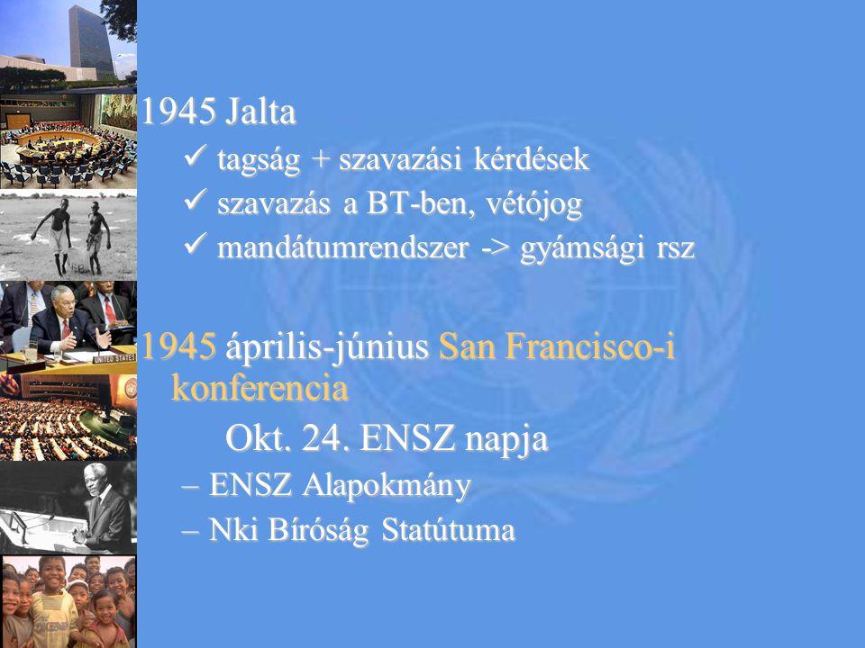 Az ENSZ céljai a nemzetközi béke és biztonság fenntartásaa nemzetközi béke és biztonság fenntartása kollektív biztonság agresszió ellen a népek egyenjogúságának és önrendelkezési jogaa népek egyenjogúságának és önrendelkezési joga baráti kapcsolatokbaráti kapcsolatok a nemzetközi gazdasági, szociális, kulturális és humanitárius problémák megoldása, az emberi jogok és alapvető szabadságjogok tiszteletben tartásaa nemzetközi gazdasági, szociális, kulturális és humanitárius problémák megoldása, az emberi jogok és alapvető szabadságjogok tiszteletben tartása a közös célok elérésének összehangolásaa közös célok elérésének összehangolása